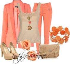 Peach pants and blazer with beige shirt