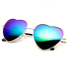 835f4e96fb6 Super cute heart shaped sunglasses that feature a thin colorful metal  frame. Stay fun and