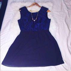 Beautiful Blue & Black Flowy Dress W Floral Detail
