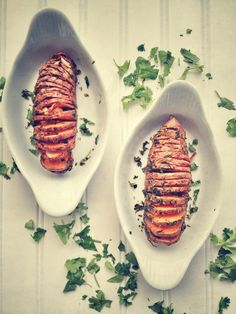 Cilantro & Lime Sweet Potatoes Hasselback Style. (Gluten/Grain/Dairy Free). - Real Sustenance
