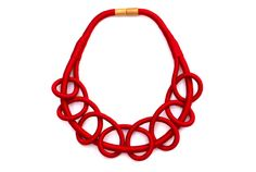 Red statement rope necklace deep red knot rope necklace by BeataTe