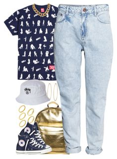 """""""Untitled #1287"""" by power-beauty ❤ liked on Polyvore featuring ASOS, Mi-Pac, Converse, Social Anarchy, H&M and Stussy"""