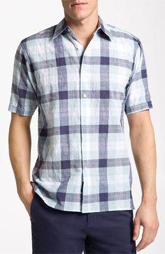 Check Sport Shirt - blue men's short sleeve shirt