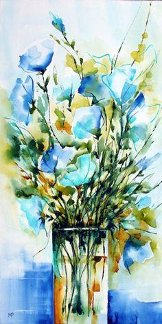 Bouquet bleu (sur toile) - Painting,  60x30 cm ©2012 par Véronique Piaser-Moyen -  Peinture