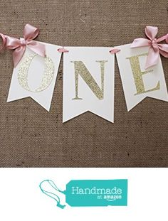 Pink and Gold First Birthday Banner : High Chair Banner from JacqsCraftyCorner https://www.amazon.com/dp/B01B8LCM8C/ref=hnd_sw_r_pi_dp_V--Fxb1TT29C7 #handmadeatamazon