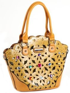 Nicole Lee Suzy Lucy Laser Cut Jewel Tote Handbag MUSTARD YELLOW,