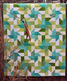 Handmade Spa Colors Lap Quilt in Teal Green and by ColoradoQuilts, $185.00