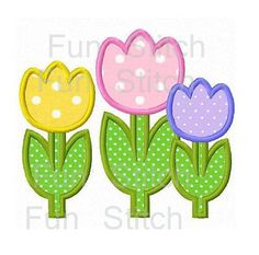 Tulip flowers applique machine embroidery design via Etsy Embroidery Shop, Types Of Embroidery, Learn Embroidery, Machine Embroidery Applique, Applique Quilts, Embroidery Stitches, Hand Embroidery, Machine Applique Designs, Embroidery Monogram