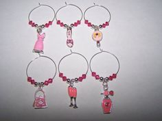 Pink wine charms