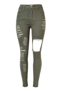 SZYMGS Army green Elastic jeans woman elastic high waist ripped jeans for women denim jean pants Hole skinny jeans woman pantalo Cute Ripped Jeans, Ripped Jeggings, Denim Jeans, Torn Jeans, Army Green Jeans, Elastic Jeans, Jeans Boyfriend, Look Girl, Short En Jean