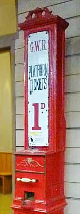 Machine for selling platform tickets, so that well-wishers could get onto the platform to welcome arriving passengers or see off departing ones. In the 1940s, platform tickets always cost a penny (in old money). So did a visit to a public lavatory. Photo taken in the Steam Museum at Swindon. The GWR stood for Great Western Railway.