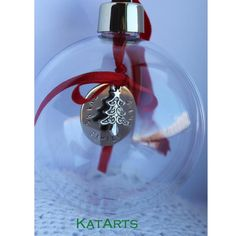 Excellent idea - gorgeous keepsake!! $27.50 hand-stamped personalised Christmas bauble decoration by KatArts on Handmade Australia
