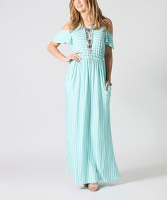 Look what I found on #zulily! 42POPS Mint & White Stripe Shoulder Cutout Maxi Dress by 42POPS #zulilyfinds