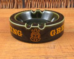 Vintage 1970s UK Greene King Beer Wade Pottery green logo ashtray