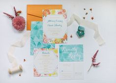 Decorate your wedding stationery suite with a turquoise, yellow and pink color palette to set an energetic tone for your big day. Colorful Wedding Invitations, Save The Date Invitations, Invitation Envelopes, Watercolor Wedding Invitations, Wedding Stationery, Invites, Wedding Place Cards, Our Wedding, Wedding Ideas