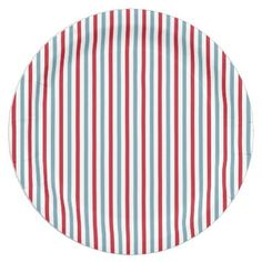 Red White and Blue Patriotic Stripe Pattern Paper Plate - independence day of july american holiday usa patriot 4th Of July Party, Fourth Of July, Paper Napkins, Paper Plates, Happy Birthday America, White Throws, Pattern Images, Blue Plates, Party Tableware