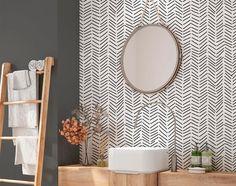 Geometric Wallpaper Modern, Chevron Wallpaper, Herringbone Wallpaper, Modern Wallpaper Designs, Accent Wallpaper, Tropical Wallpaper, Leaves Wallpaper, Office Wallpaper, Minimalist Wallpaper