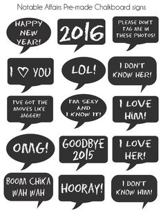 INSTANT DOWNLOAD Pre-made Chalkboard Signs for New Year's Eve parties, sleepovers photobooth photo booth props