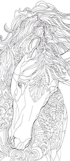 Coloring pages Horse Printable Adult Coloring book by ValrArt: