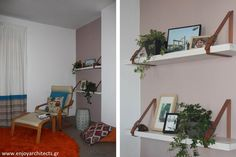 Custom made shelves with wood and leather, by Anna Papasotiriou of #eNJOY architects.