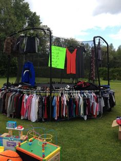 Use Your Trampoline To Set Up Clothes For Big Garage Sales