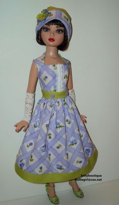 BLUE VIOLET Outfit with Hat & Gauntlets for Ellowyne, by bittyboutique via eBay, ends 5/4/15 Bid $32.00