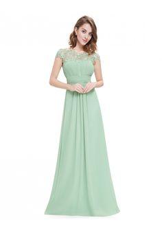 Chiffon Abendkleid lang mit Spitze in Mint Grün - bei VIP Dress online bestellen
