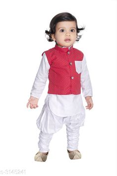 Kurta Sets Fancy Silk Cotton Blend Kurta Kid's Boys Pyjama Set  *Fabric* Silk Cotton Blend  *Sleeves* Waist Coat - Sleeves Are Not Included & Kurta - Sleeves Are Included  *Size* Age Group (6 Months - 12 Months) - 14 in  *Type* Stitched  *Description* It Has 1 Piece Of Kid's Boy's Kurta With 1 Piece Of Kid's Pyjama & 1 Piece Of Kid's Waist Coat  *Work & Pattern* Kurta & Pyjama - Solid , Waist Coat - Printed  *Sizes Available* 2-3 Years, 3-4 Years, 4-5 Years, 6-12 Months, 0-1 Years, 1-2 Years *    Catalog Name: Ethnic Fancy Silk Cotton Blend Kurta Kid's Boys Pyjama Set Vol 2 CatalogID_431651 C58-SC1170 Code: 242-3145241-