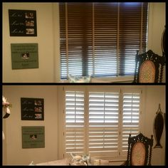 Blinds to Shutters:  The ultimate upgrade to beauty, function and value.   Note divider rail hides window break and provides privacy zone.