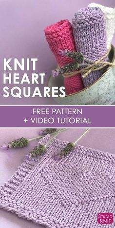 This Easy Heart Knit Stitch Pattern is perfect for making cute dishcloths, washcloths, or blanket squares. Free pattern by #StudioKnit #KnittedHeart #FreeKnittingPattern via @StudioKnit