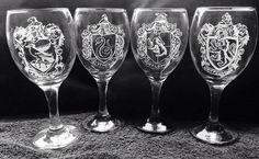 HARRY POTTER house set x4 engraved glasses door SoulflyLimited