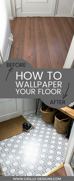 How to Wallpaper A Floor - a renter-friendly alternative!