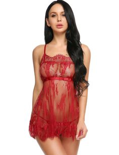 Material: 100% Polyester 4 Colors: White, Red, Purple, Black Style: Sexy Design: See-through, Lace Patchwork, Cross Back Season: Summer Collar: Spaghetti Strap Sleeve: Sleeveless Length: Above Knee Pattern: Patchwork Decoration: Hollow out, Lace Fit Style: Slim Opportunity: Sleepwear, Nightwear Package Content: 1 x Women Sexy Lingerie Set In a stretch-to-fit style ,a fantastic sexy lingerie for you to choose Make you attractive to your lover,and spicing up your sex life Due to different…