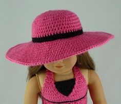This adorable wide brim sunhat is a great accessory for American Girl Dolls and other 18 inch dolls. The hat features a wide brim that is great for the beach or a sunny day. Pattern includes instructions to make the brim shape-able. American Girl Outfits, American Doll Clothes, Ag Doll Clothes, Crochet Doll Clothes, Doll Clothes Patterns, Doll Patterns, Dress Patterns, American Girl Crochet, American Girl Diy