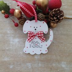 Personalised Puppy Dog 1st Christmas Gift Tree Decoration Gift Sign Plaque