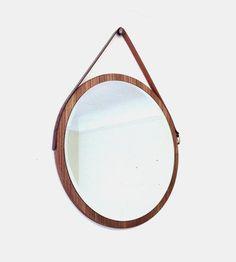 Round Walnut Vintage Belt Hanging Mirror