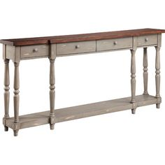 This weathered console table makes the perfect home for an array of family photos or a blooming floral arrangement.Product: Conso...