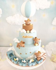 Baby Boy Cake ideas for Baby Shower and Baptism. Baby Bears on an Aerostatic Balloon & Train