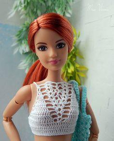Barbie Style, Barbie Top, Barbie Dress, Barbie Knitting Patterns, Barbie Patterns, Doll Clothes Patterns, Dress Patterns, Crochet Barbie Clothes, Doll Clothes Barbie