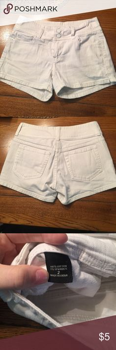 White jean shorts Worn but still has a lot of life left! Shorts Jean Shorts