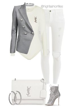 """""""Untitled #2705"""" by highfashionfiles on Polyvore featuring Bling Jewelry, Frame, Wolford, Balmain, Yves Saint Laurent and Lorraine Schwartz"""