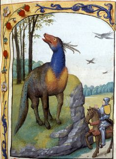 Gilded Knight meets the beast of many colours (f°166) in French, Bruges, Netherlands, 1475-1479 [BL, Ms Royal 19 E II]