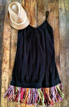 Serape Fringe Dress - Black