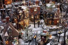 Christmas Village Corner Displays | can see that even on Christmas Eve old Ebeneezer is still working ...