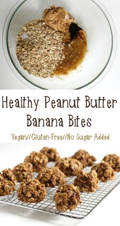 Healthy Peanut Butter Banana Bites from Healthy Helper....vegan, gluten-free, naturally sweetened snack bites made with the best combination of ingredients, banana and peanut butter!