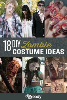 Hannah - With these DIY zombie costume ideas, you'll be completely prepared for the Zombie Apocalypse. Because if you can't beat 'em, join 'em. Zombie Costume Women, Zombie Halloween Costumes, Halloween 2016, Halloween Food For Party, Halloween Makeup, Zombie Couple Costume, Horror Costume, Kid Costumes, Halloween Carnival
