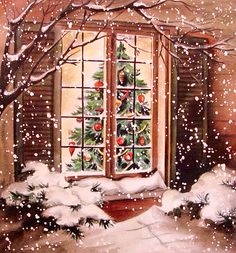 """Vintage """"let us have a christmas tree!!"""" christmas greeting card"""