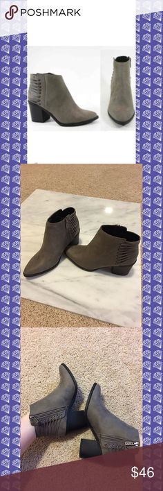 "Taupe heeled booties with lace detailing Brand new and so hot on trend for Fall!!  Taupe suede booties with lace detailing around the back. (See pics for details).   These are on trend and will sell quick! Wear these with almost anything. The color is so versatile!   1.75"" inside heel and almost 3"" outside heel.   Booties come brand new in the box.   Run true to size unless wearing with thick socks then size up.   Price is firm unless bundled. Comes from a smoke free home. Boutique Shoes…"