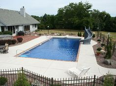Rectangle Pool with just gray cement.
