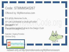 $10 off My Memories Suite 7! 30% off a photobook or photo gift order! Plus get the 1st Month Free to the Design Club! coupon